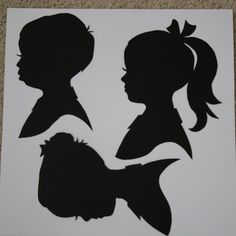 silhouettes from photos...I did this with my grandchildren as a Christmas gift from them to their parents.  I also added an initial for their name. They turned out very nice & were very easy to do. decor, portrait silhouette, craft, diy silhouett, silhouette art projects, silhouettes, diy project