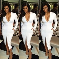 Made to order Deep front V long sleeve sexy Kim Kardashian dress. Featuring front slit. Comes in Black or White.