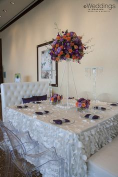 Elegant White Wedding Decor with Pops of Color by Keisha's Kreations