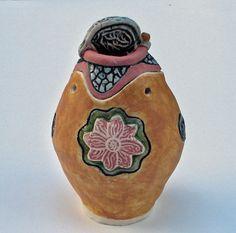 lidded jar ceramic pottery ceramic art by VickieDumas on Etsy, $38.00
