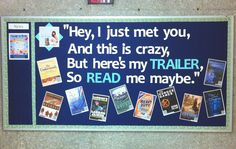 "I was inspired to put up this bulletin board based on the pin below.  Each book has a QR code on the book cover which leads to a student-created book trailer.  I also Photoshopped the album cover for Call Me Maybe to show Carly Rae Jepsen with a stack of books and the song title ""Read Me Maybe.""    Our students have loved it.     http://pinterest.com/pin/411586853414650216/"