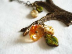 Nature necklace, Bohemian Tree necklace, Czech glass leafs, flower and sparrow - Brass Orange green beige - Woods, bird, nature by LunaDiArgento for $31.00
