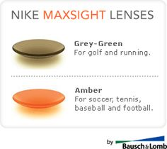 """Nike MaxSight Contact Lense (""""Amber is superior for fast-moving ball sports in variable light conditions such as baseball, soccer and tennis, while the grey-green lens is ideal for sports played in bright sunlight where glare and comfort are primary concerns, such as golf, running and rugby."""")"""
