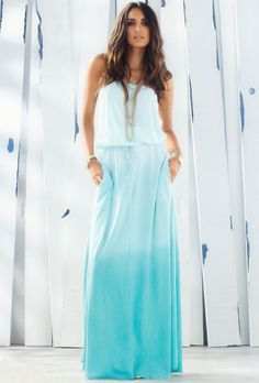 Elan International Strapless Smock Hip Maxi Dress in Mint Ombre