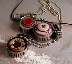 Industrial style, punky button necklaces...