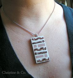 Brown and white washi tape pendant by ChristineandCodesign on Etsy