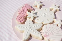 Sea-themed cookies for your next beach or pool party—lovely. #birthday #shower #dessert