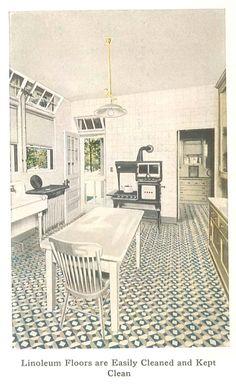 Kitchen from a 1921 Linoleum catalog