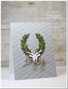 gold tipped antlers are the highlight of Karolyn's gorgeous card
