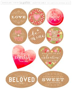 Free printable labels by @lia griffith for Valentines