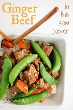 Slow cooker ginger beef - a super simple real food recipe for busy families! Part of the Ginger Challenge at Kitchen Stewardship