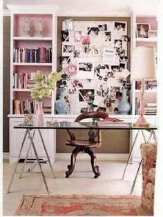 White bookcase with pink inside - Ruthie Sommers