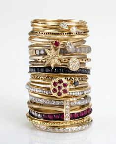 Stacks Of Rings :) Love! Room for one more on my wedding ring finger...I'm thinking sapphire eternity band!