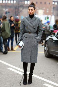 Giovanna Battaglia, Grey Coat in Milan | Street Fashion | Street Peeper | Global Street Fashion and Street Style