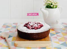 Kladdkaka med Hallon (Swedish Chocolate Cake with Raspberries). The ultimate birthday indulgence.