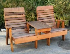 wood deck furniture | Red Cedar Outdoor Patio Settee Two Patio Chairs and Outdoor Table
