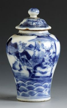 """Porcelain Snuff Bottle . Sgn. Baluster shaped, decorated with figures. Ht. 2 3/4"""""""