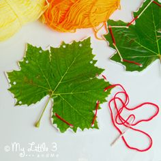 Make beautiful sewn leaves. A simple children's craft.