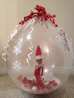 Elf on the Shelf stuffed in a balloon this year! Showing up in style!