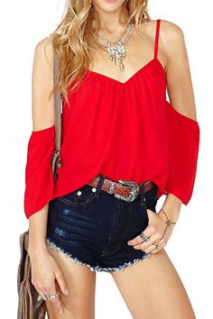 ROMWE Straps Off Shoulder V-neck Sheer Red T-shirt