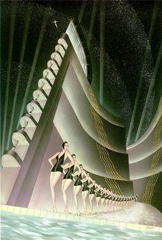 art illustrations, vintag poster, robert hopp, deco fabulos, bathing beauties, artdeco, art nouveau, art deco posters, chateau thombeau
