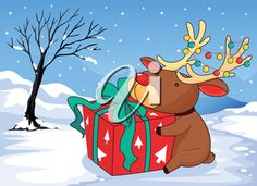 iCLIPART - Clip Art Illustration of a Reindeer Holding a Gift