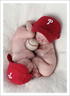 Twin Baseball Infant Photo Shoot.  Wish I'd done this with my twinners.