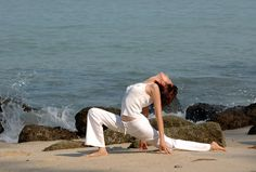 beautiful yoga, modified lunge on the beach