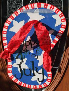 This hand-painted, wooden, door hanger shows your patriotic spirit and welcomes all visitors!   Ideas for Display:  * Front Door/Back Door * Over Garage * Porch/Deck * Party Decoration Fouth of July Sparkly Flip Flop Door Hanger Sign by SparkledWhimsy, $35.00