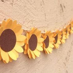 Rustic Sunflower Paper Flower Garland for a Wedding Shower.