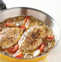 Love cook once, eat twice recipes. Make Herbed Chicken and Veggie Skillet for dinner tonight and serve the leftovers in Sesame Chicken Salad Wraps tomorrow.