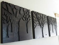 Rustic Modern Wall Art, Triptych Art Set, Large Art, Wood Carvings, Abstract Nature