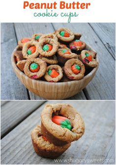 Peanut Butter Cookie Cups: peanut butter cookies with m's and Candy corn