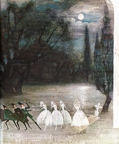 """Provensen - Ballet 3, Illustration from Giselle, """"Tales of the Ballet"""", Golden Press 1968. Illustrated by Alice and Martin Provensen"""