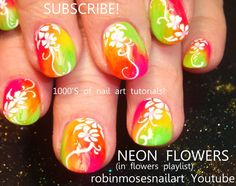 White Flower Nail Art on Neon