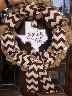 Decorative Texas AM Gig 'Em Aggies' Maroon Chevron by TheCozyCasa, $55.00
