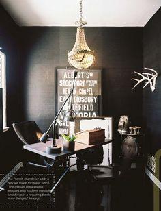 black seagrass wallpaper...dramatic.
