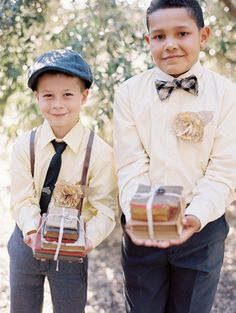 20s-inspired ring bearer outfits, photo by Melissa Brandman http://ruffledblog.com/highland-springs-resort-wedding #ringbearers #suspenders #wedding