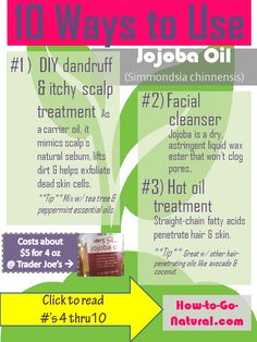 "Jojoba oil penetrates the skin  hair, fights inflammation, is an astringent oil, feels ""dry"" to the touch and much, much more! No matter what your hair/skin type, there are many ways to take advantage of this unique oil (that's not really an oil- it's a liquid wax!)"