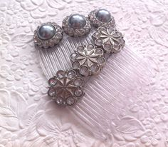 2  hair combs  clear and pewter bling  wedding by EmbellishedLife, $17.00  Tooting my own horn..maybe I'll grow my hair so I can actually wear them!