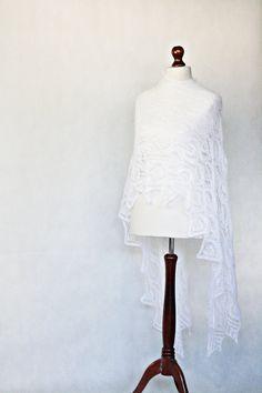 READY to SHIP Wedding shawl knit shawl white by KnitwearFactory, $129.00