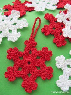 Crochet Snowflake Pattern, Christmas Crochet Snowflake Ornament, Crochet Cluster Stitch Tutorial, Lyubava Crochet Pattern number 6