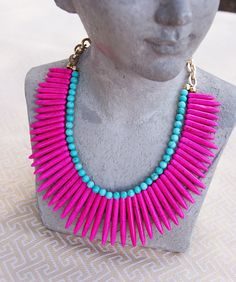 Pink Turquoise Spike Statement Necklace by BlueHazelDesign on Etsy, $58.00