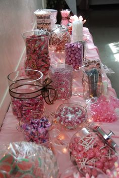 Candy Buffets are always a great idea for a sweet sixteen