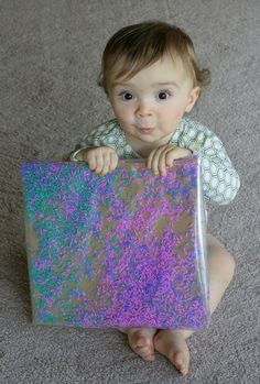 Baby/Toddler Colored Rice Art with link to tutorial on coloring rice  FUN AT HOME WITH KIDS