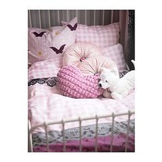 MYSTISK Duvet cover and pillowcase(s), lace pink - Twin - IKEA