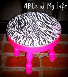 painted the stool hot pink