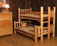 Cabin Log Bunk Bed with Built-in Ladder