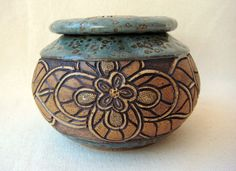 Pottery Lidded Bowl with Flower Design - Sage & Brown