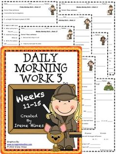 "Daily Morning Work 3: Weeks 11-15 This is the 3rd set from my morning work activity packs:{Based On Common Core Standards} *Language Arts & Mathematics Skills On Every Page! *Here are another 25 ready-to-use Morning Work Activity Sheets plus 25 teacher answer keys. Perfect for using as a daily language review, minute math, ""Do Now"" or as extra enrichment for morning work. Each activity is labeled with the week number & day of the week."